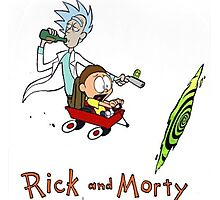 Rick and Morty Calvin and Hobbes Photographic Print