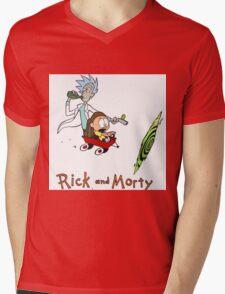 Rick and Morty Calvin and Hobbes Mens V-Neck T-Shirt