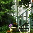 Porch with Urn and Pumpkin by Susan Savad