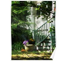 Porch with Urn and Pumpkin Poster