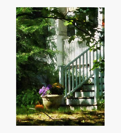 Porch with Urn and Pumpkin Photographic Print