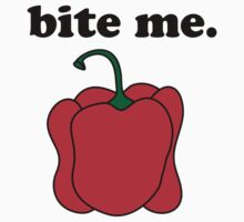 bite me. (red bell pepper) Kids Clothes