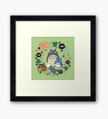 Green Totoro Wreath - My Neighbor Totoro Framed Print