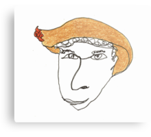 I wonder what happens if you wear this hat... Metal Print