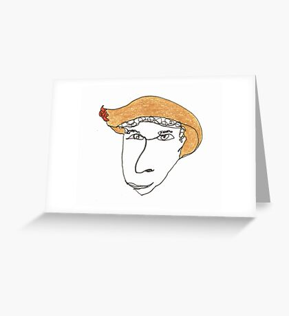 I wonder what happens if you wear this hat... Greeting Card
