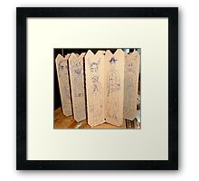 drawings on cardboard inserts from liquor carton, photo #5 Framed Print