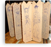 drawings on cardboard inserts from liquor carton, photo #5 Canvas Print
