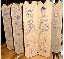 drawings on cardboard inserts from liquor carton, photo #5 Photographic Print