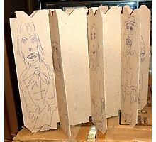 drawings on cardboard inserts from liquor carton, photo #6 Photographic Print