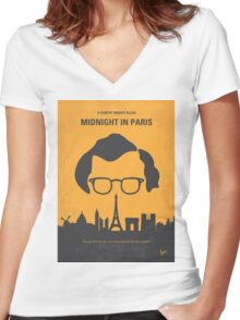 No312 My Midnight in Paris minimal movie poster Women's Fitted V-Neck T-Shirt