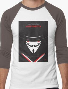 No319 My V for Vendetta minimal movie poster Men's Baseball ¾ T-Shirt