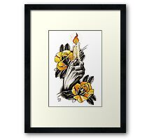 Hand holding Candle - TATTOO Framed Print
