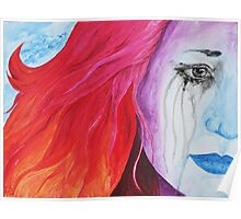 Loosing Color Surreal Rainbow Woman Original Art Poster