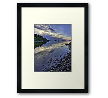 Nordic summer night seascape. Framed Print