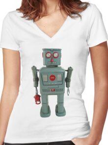 Lantern Robot 1 Women's Fitted V-Neck T-Shirt