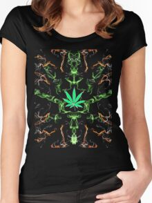 Marijuana Leaf Psychedelic pattern Women's Fitted Scoop T-Shirt