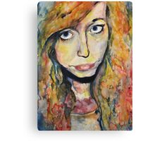 Watercolour, wet-on-wet portrait - Influenced by Molly Brill. Canvas Print