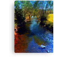 Vibrant river in autumn season Canvas Print