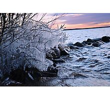 Icy winter sunset in Sweden Photographic Print