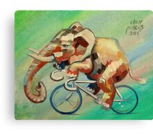 Elephant on a Bicycle Canvas Print