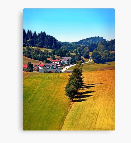 A village, some trees, and more boring scenery Canvas Print