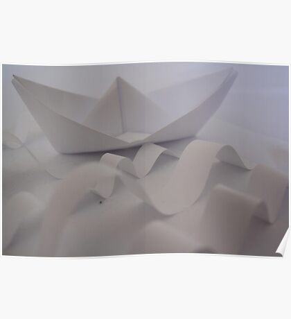 Paper Boat on a Stormy Sea Poster