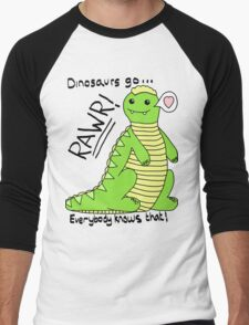 Dinosaurs Go Rawr! Men's Baseball ¾ T-Shirt
