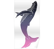 Night Sky Whale (Transparent Lines) Poster