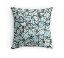 Blue Hydrangea Petals Throw Pillow