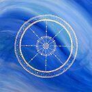 Mandala : Blue Wheel  by danita clark