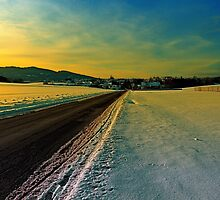 Winter road into dusk | landscape photography by Patrick Jobst