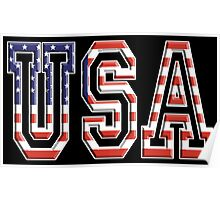 USA, Stars and Stripes, United States of America, Flag, Patriot, America, American, US, on BLACK Poster
