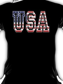USA, Flag, Patriot, America, American, US, on BLACK T-Shirt