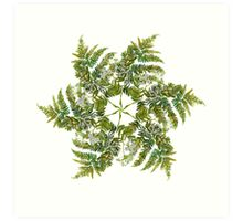 Watercolor fern wreath with white flowers Art Print
