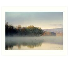 Misty Morning Sunrise Landscape Art Print