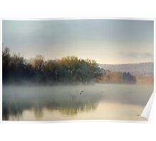 Misty Morning Sunrise Landscape Poster
