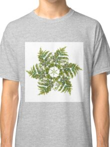 Watercolor fern wreath with white flowers Classic T-Shirt