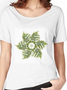 Watercolor fern wreath with white flowers Women's Relaxed Fit T-Shirt