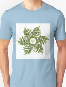 Watercolor fern wreath with white flowers T-Shirt