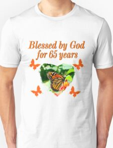 BEAUTIFUL 65TH BIRTHDAY BUTTERFLY DESIGN Unisex T-Shirt