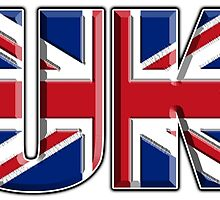 UK, Flag, Union Jack, British, United Kingdom, Blighty, on WHITE by TOM HILL - Designer