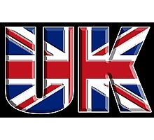 UK, Flag, Union Jack, British, United Kingdom, Blighty, on BLACK Photographic Print