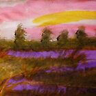 Sunset over the river, watercolor by Anna  Lewis