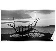 Viking ship sculpture Reykjavik, Iceland Poster