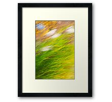 Fall Grass Colorful Nature Abstract Art Framed Print