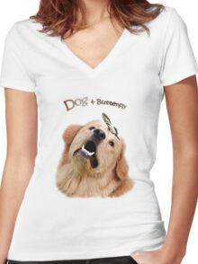 Dog and Butterfly Women's Fitted V-Neck T-Shirt