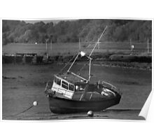 Fishing Boat Stranded on Mud Poster