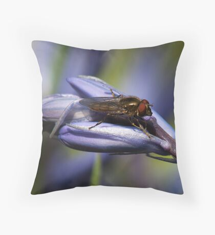 Blubell Flower with insect Throw Pillow
