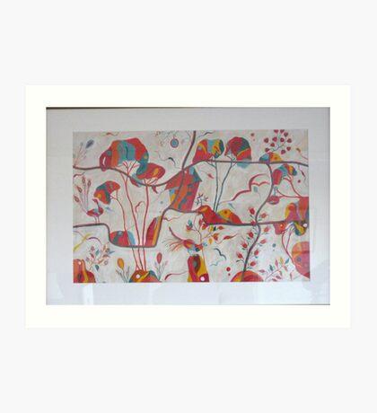 Secret garden red Art Print