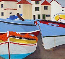 beached boats at Camarra de Lobos, Madeira.  by Michelle Bailey